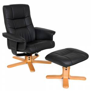 tectake Lænestol med skammel Model 1 - sort/beige