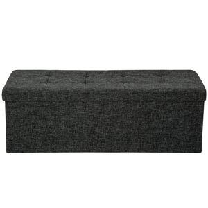tectake Foldbar puf med opbevaring rektangel - mørkegrå