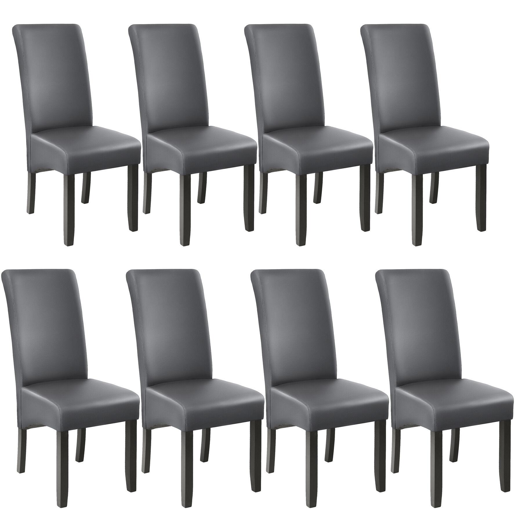 tectake Spisebordsstol, sæt med 8 - grå