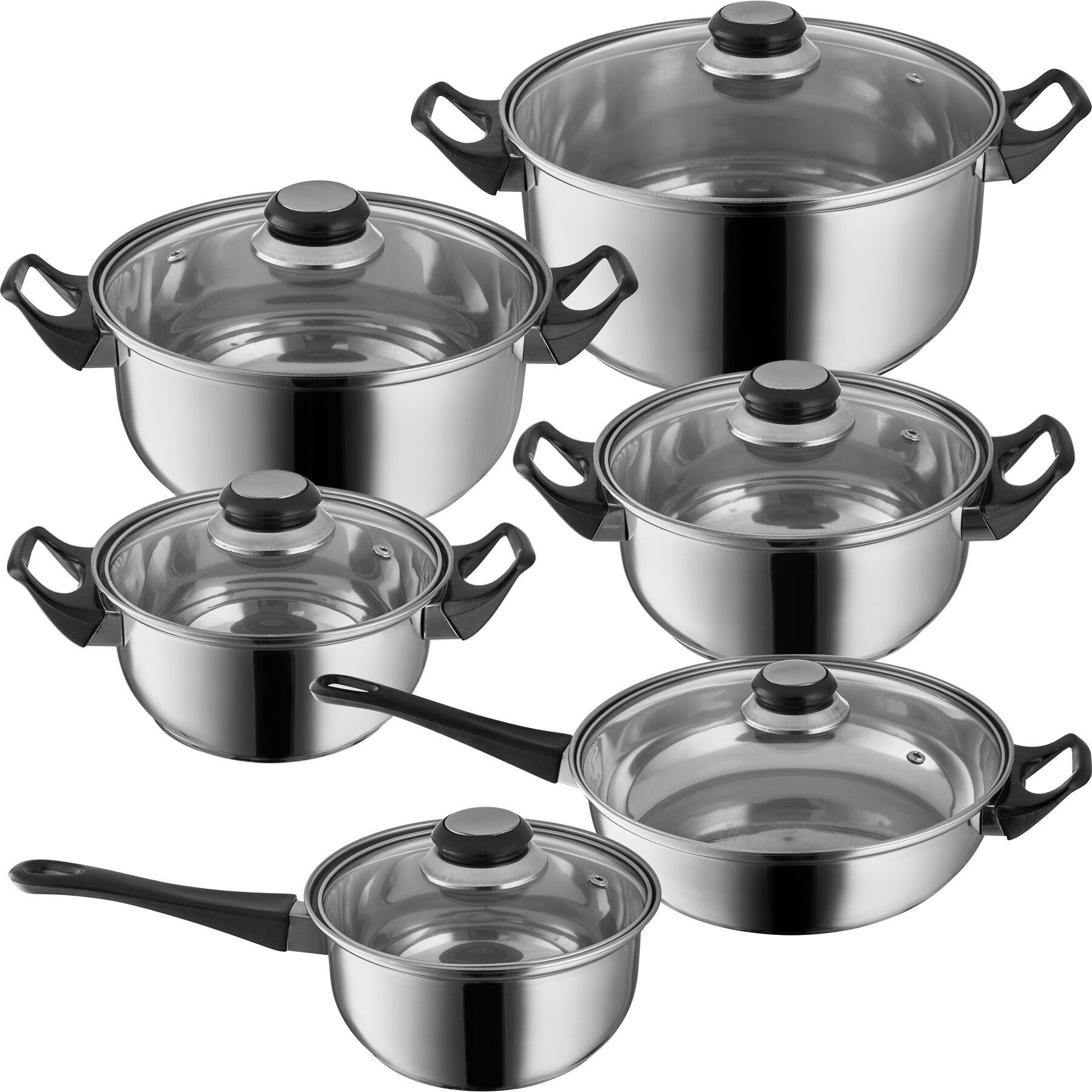 tectake Grydesæt, 12 dele i rustfrit stål inkl. låg - sølv