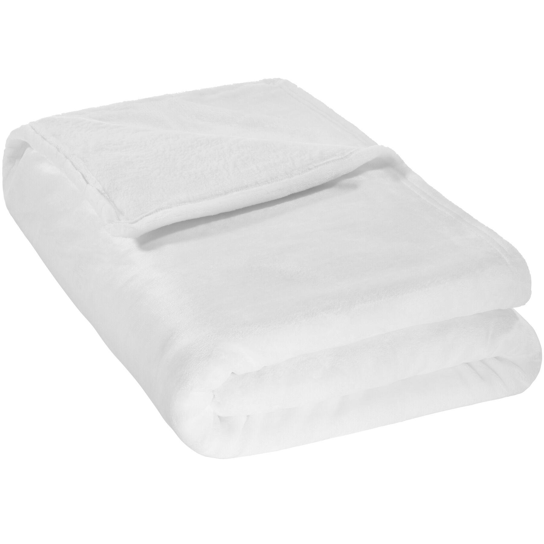tectake Plaid i polyester - hvid, 220 x 240 cm
