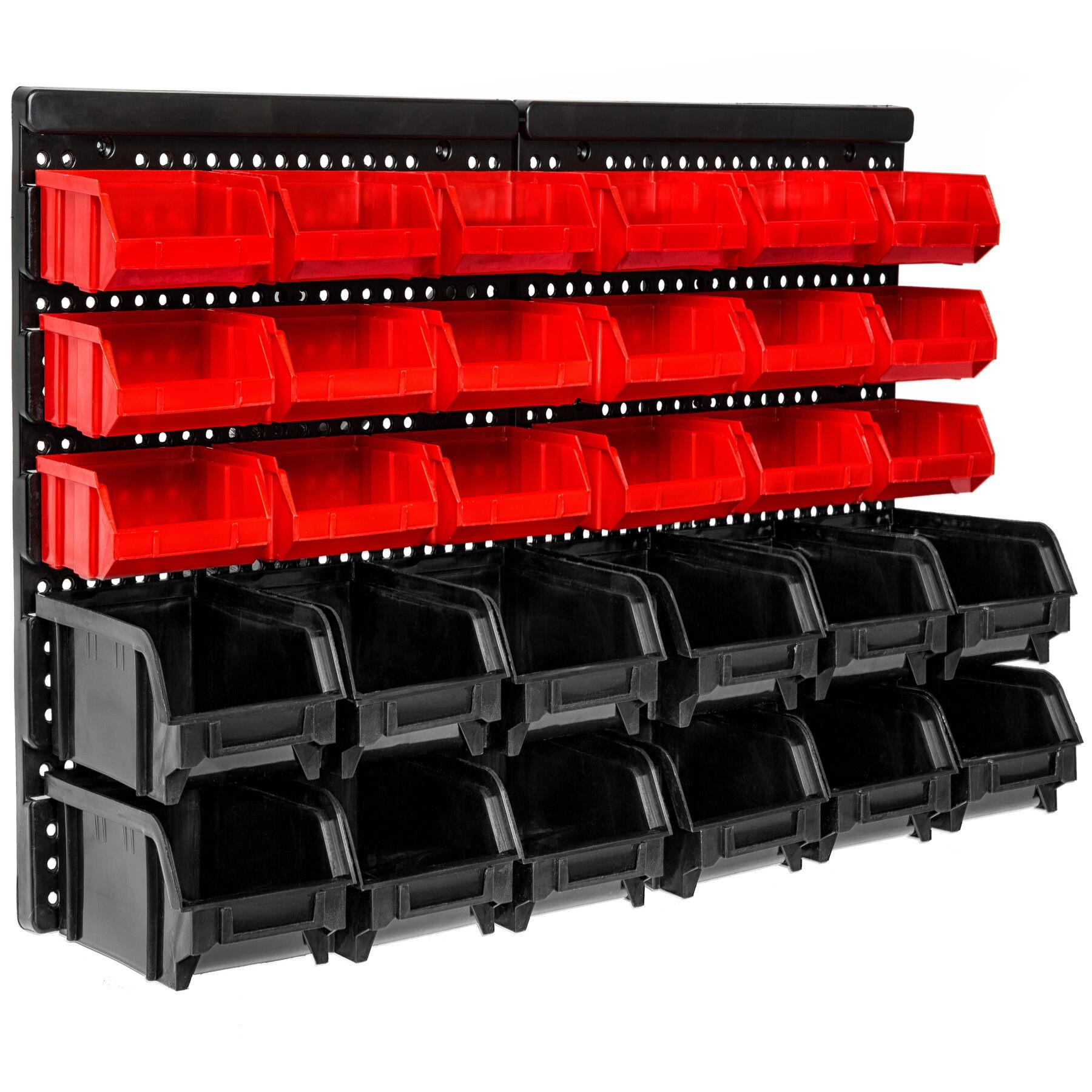 tectake Væghylde med stabelkasser 30 kasser - sort