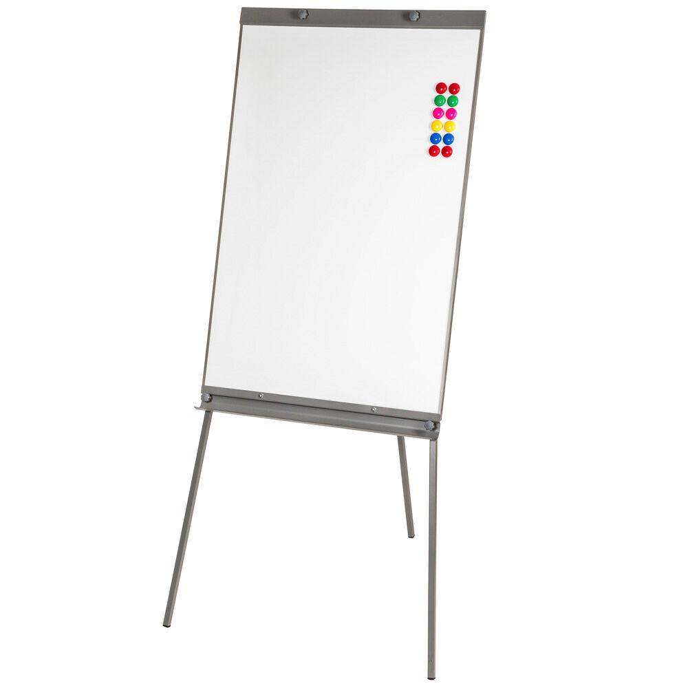 tectake Whiteboard magnettavle på ben inkl. 12 magneter - hvid