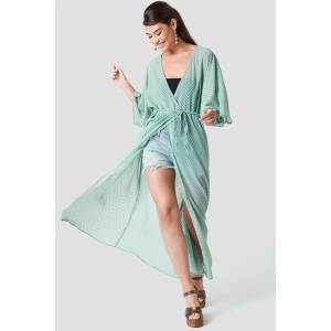 NA-KD Boho Structured Chiffon Coat Dress - Green