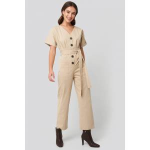 NA-KD Belted Button Up Jumpsuit - Beige