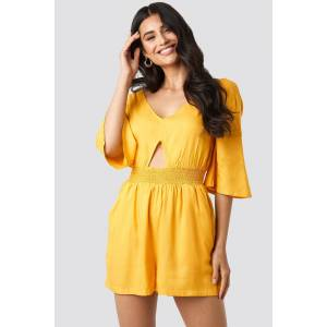 NA-KD Cut Out Detail Playsuit - Yellow