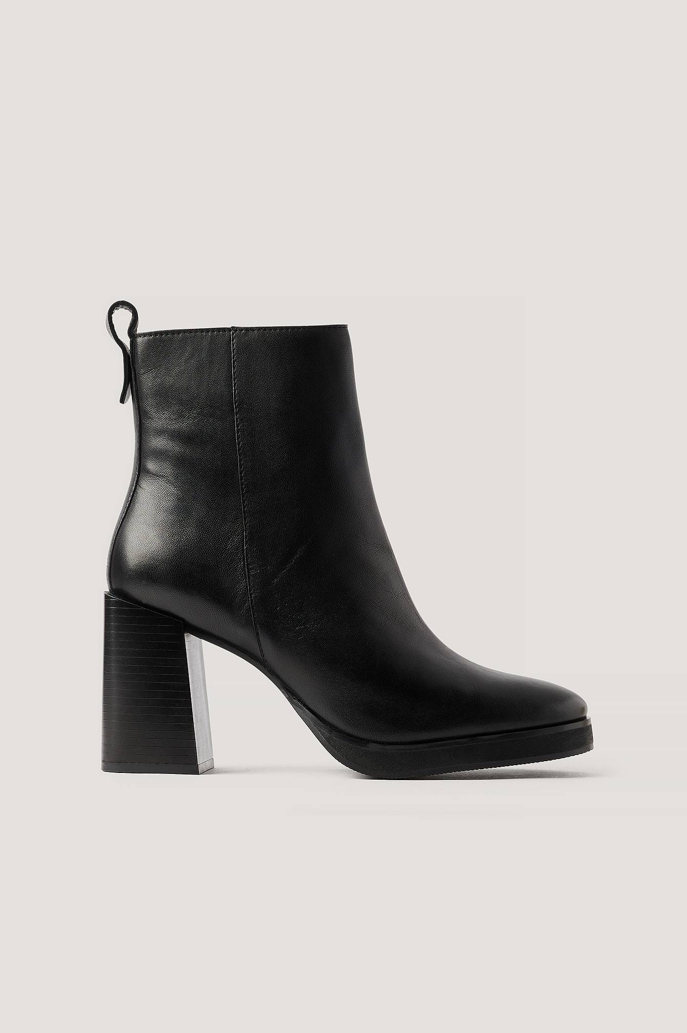 NA-KD Shoes Plateaulæderstøvler - Black