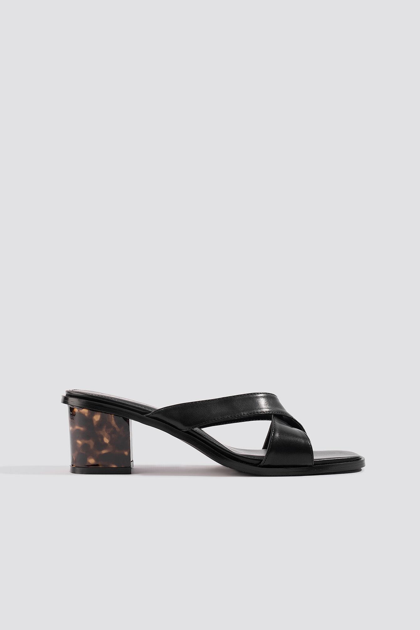 NA-KD Shoes Resin Heel Mules - Black