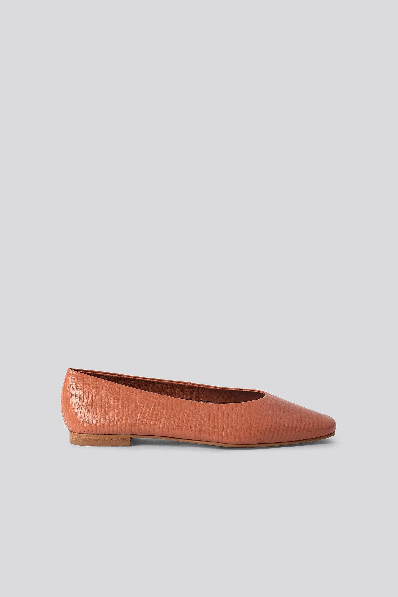 NA-KD Shoes Soft Leather Ballerinas - Brown