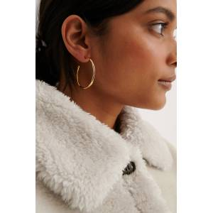 NA-KD Accessories Gold Plated Wavy Hoops - Gold