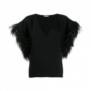 P.a.r.o.s.h. Feather embellished blouse s (Sort)