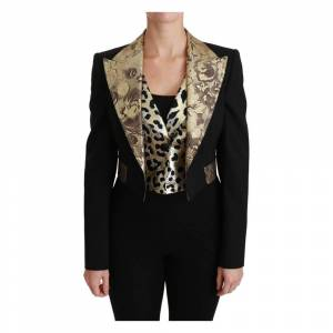 Dolce & Gabbana Jacquard Vest Blazer Frakke Uld Jakke (Sort)