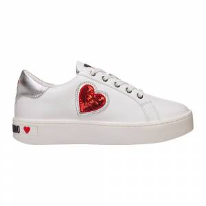 Love Moschino women's shoes leather trainers sneakers (Hvid)