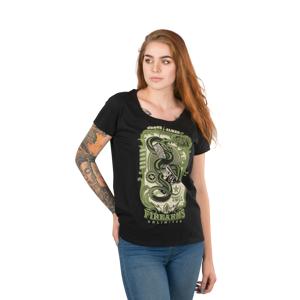 T-Shirt West Coast Choppers Skelly Snake Scoop-neck Dame, Sort Sort