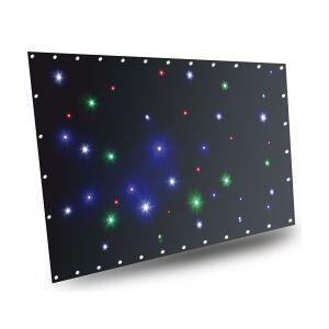 Bagtæppe med stjernelys 36x farvet LED'er RGBW / 1 x 2 me sparklewall controller