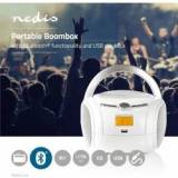 Nedis Boombox   9 W   Bluetooth®   CD-afspiller/FM-radio/USB/AUX   Hvid, SPBB100