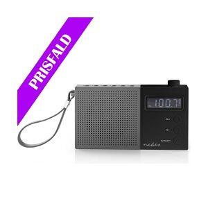 Nedis UKW-radio   2,1 W   Ur og alarm   Multifunktionel drejeknap   Grå/sort, RD