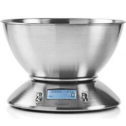 Nedis Digital køkkenvægt   Belyst LCD   Temperatur   Vækkeur   Metal, KASC111SI
