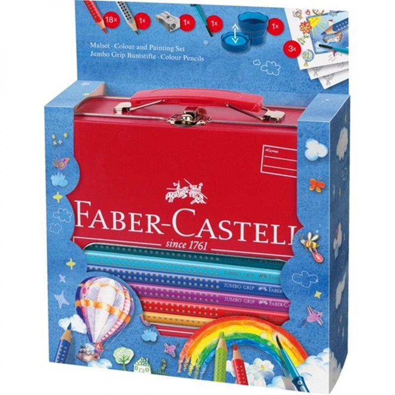 Gaveæske: Faber Castell Jumbo Grip Farveblyanter Med Pensel