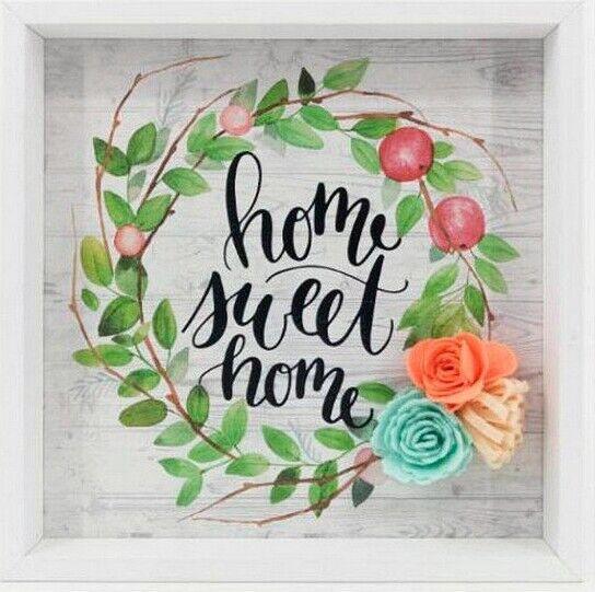 Billede Med Ramme - Blade Og Blomster - Home Sweet Home - 21x21x2 Cm