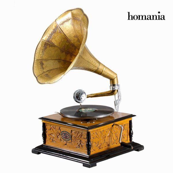 Homania - Pladespiller - Firkantet - Gylden Brun