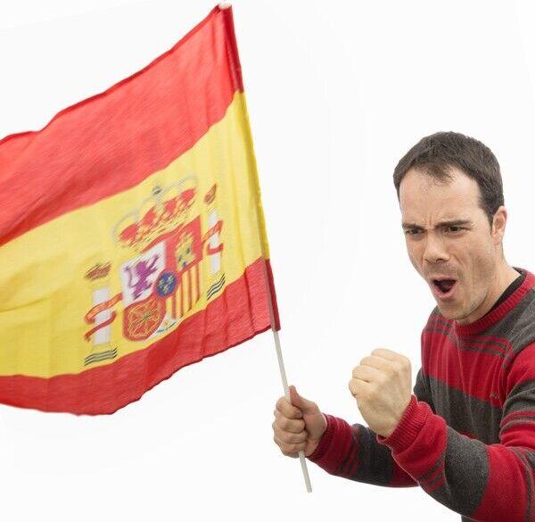 Spansk Flag Med Stang - 60x90 Cm.