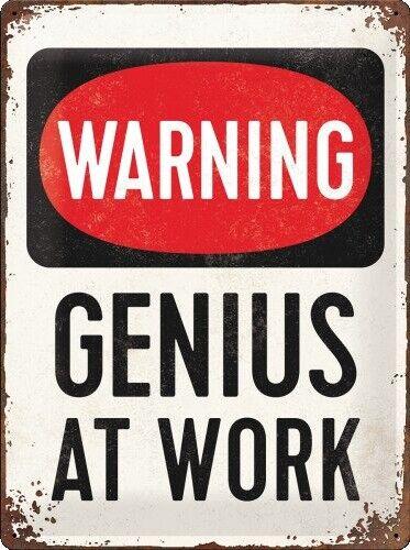 Genius At Work - Emaljeskilt - 30x40 Cm.
