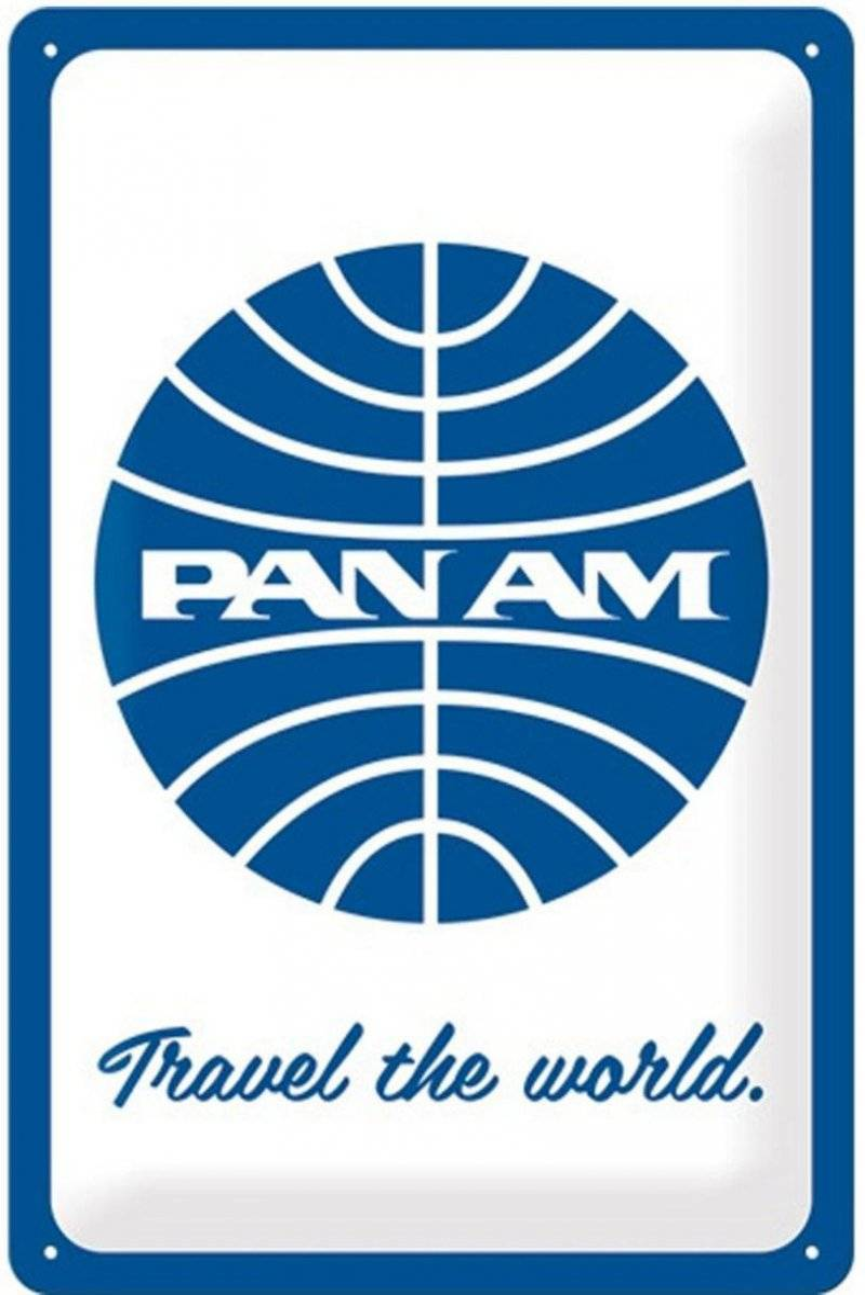 Pan Am - Travel The World - Emaljeskilt - 20x30 Cm