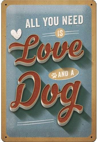 Love And A Dog - Emaljeskilt - 20x30 Cm.