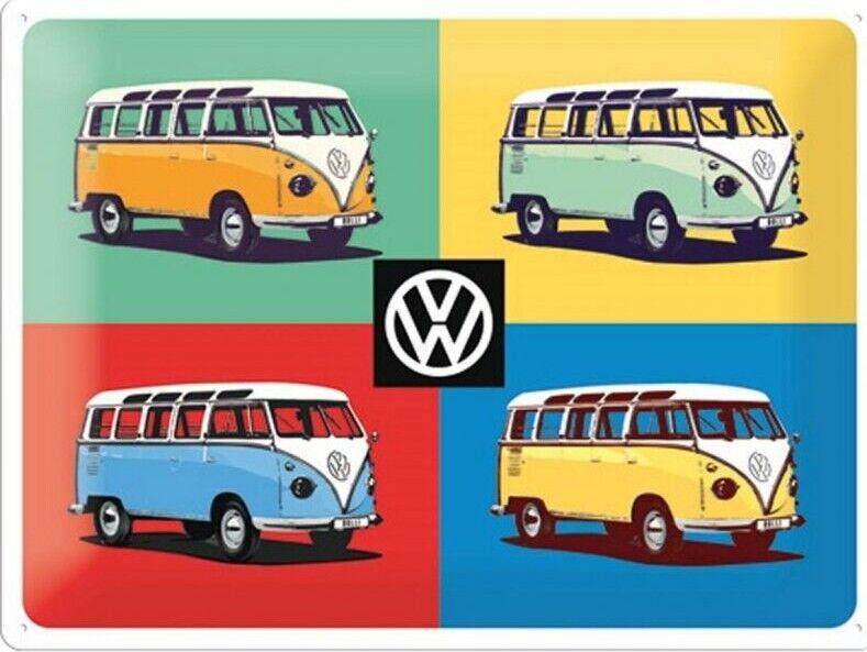 Vw - Emaljeskilt - Volkswagen - Bulli Pop Art - 30x40 Cm