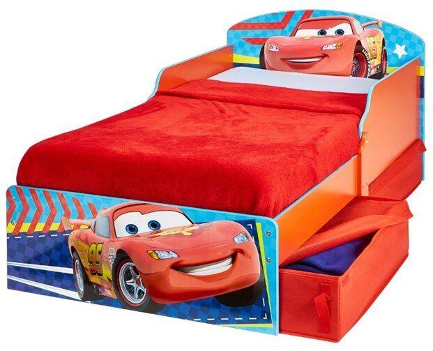 Disney Biler Juniorseng Med Opbevaring - 70x140 Cm - Rød