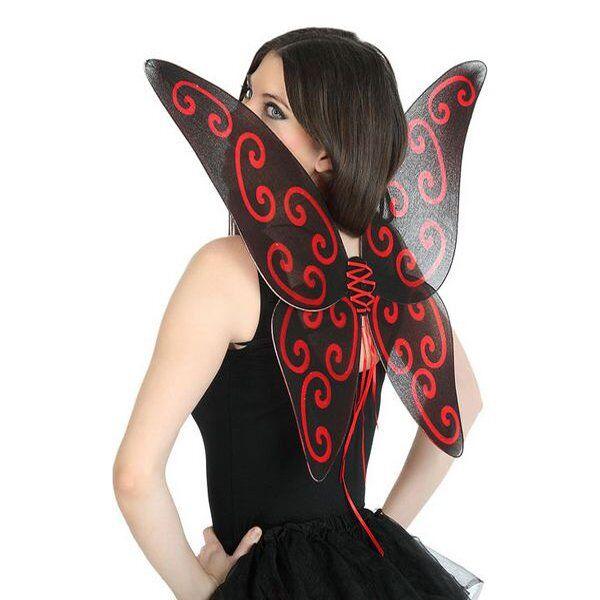 Sommerfuglevinger Til Udklædning - Sort Rød