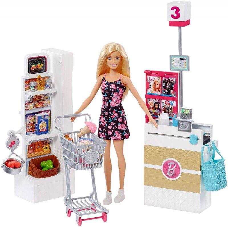 Barbie Supermarked Sæt Med Dukke