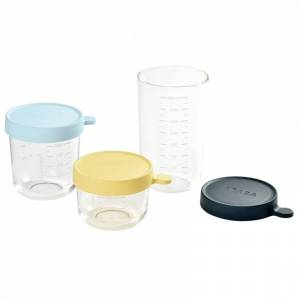 Béaba - Opbevaringsglas Sæt Med Låg - 3 Stk - Blå