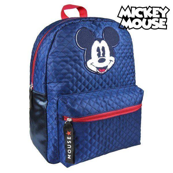 Mickey Mouse - Skoletaske Med Forlomme - Marineblå