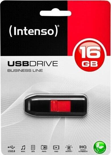 Intenso - Usb Stik - 16gb - 28mb/s - Sort Rød