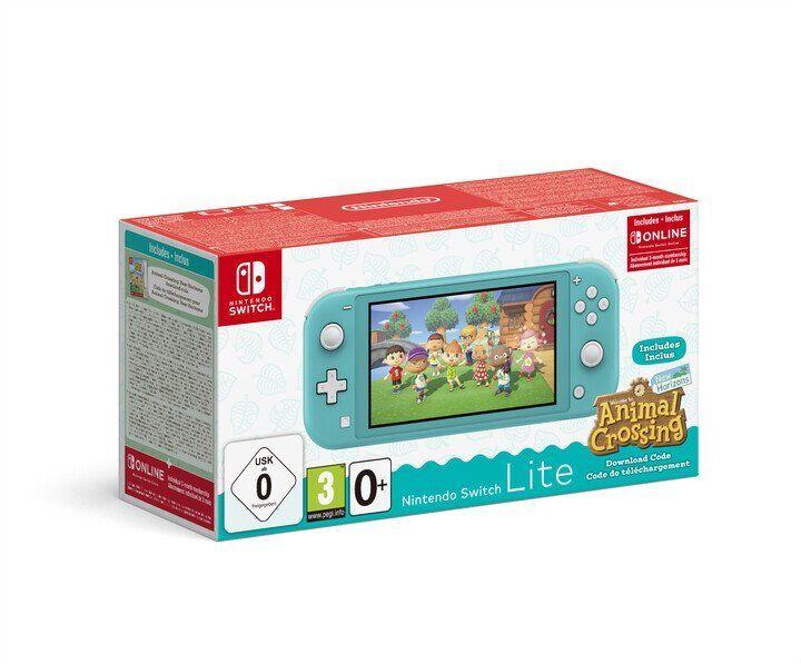 Nintendo Switch Lite - Animal Crossing + 3m Online - Turkis