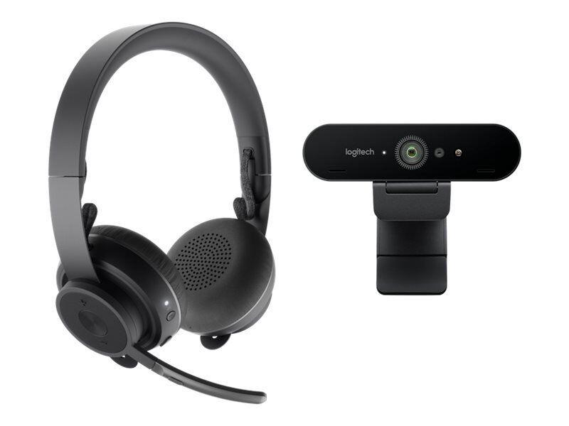 Logitech Brio 4k Webcam Og Zone Wireless Hovedtelefoner