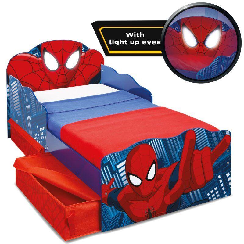 Spider-man Seng - Juniorseng Med Opbevaring Og Lysende øjne