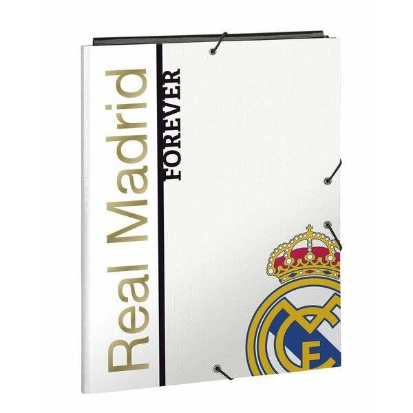 A4 Mappe Med Real Madrid Logo - Hvid Guld