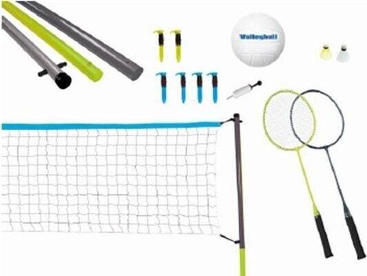 Badminton Og Volleyball Sæt Med Net, Bolde Og Ketsjere