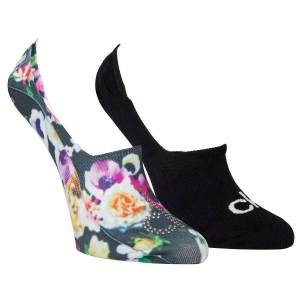 Calvin Klein 2-pak Abby Floral Print Sneaker Socks - Black * Kampagne *