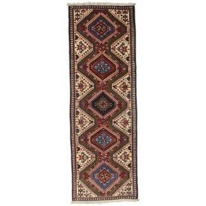 Håndknyttet. Oprindelse: Persia / Iran Yalameh Tæppe 55X162 Tæppeløber Mørkerød/Mørkebrun (Uld, Persien/Iran)