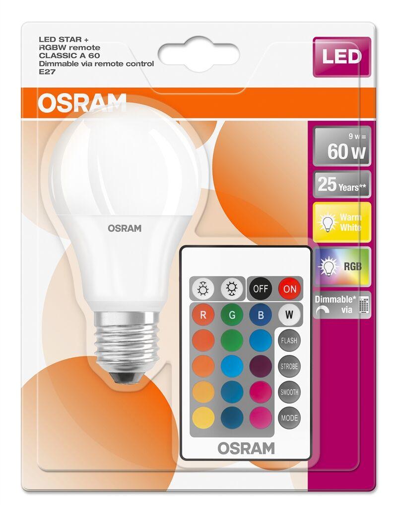 Osram 045675 Led Rgbw Remote Std 9w=60w E27