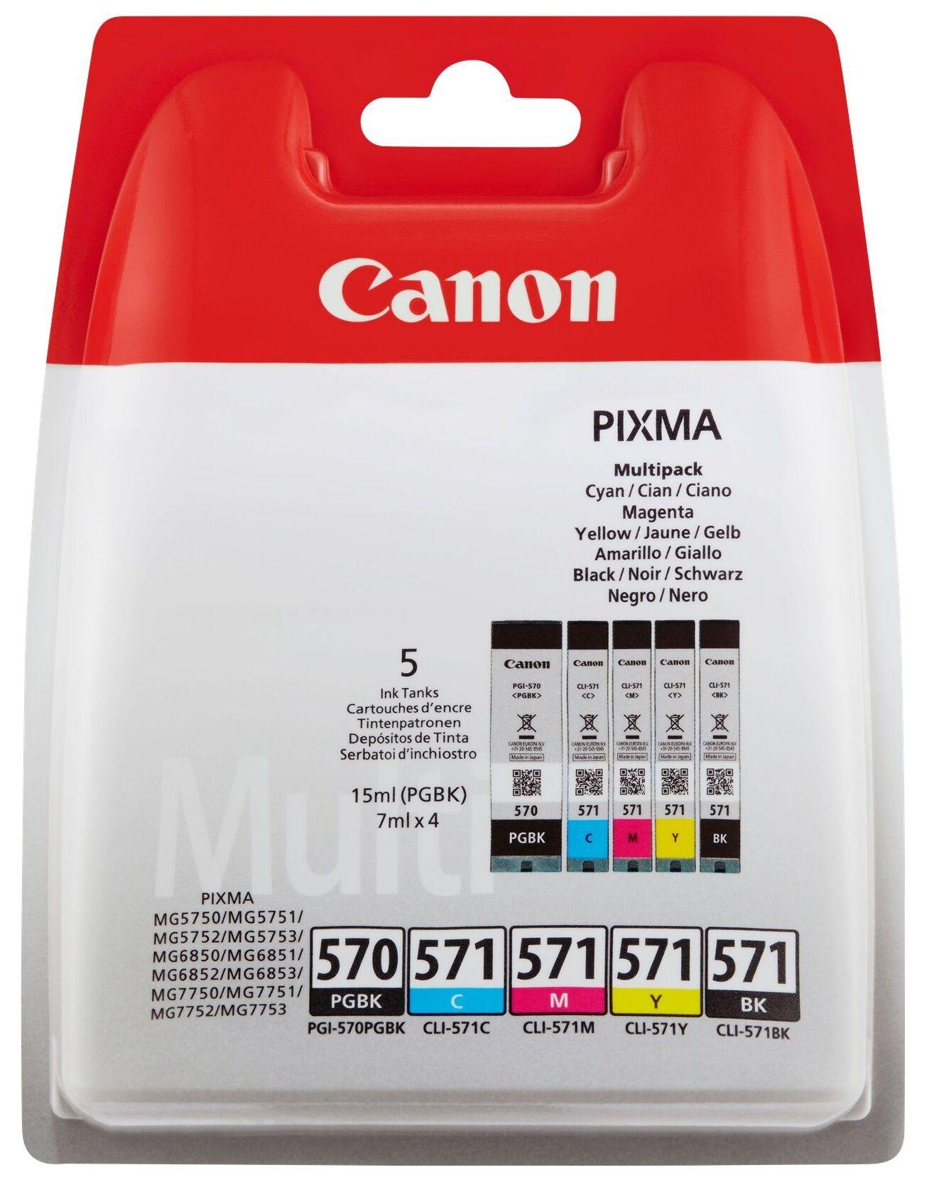 Canon PGI 570 BK/ CLI 571 CMYK, Sampak 5 stk blækpatron,, blistered