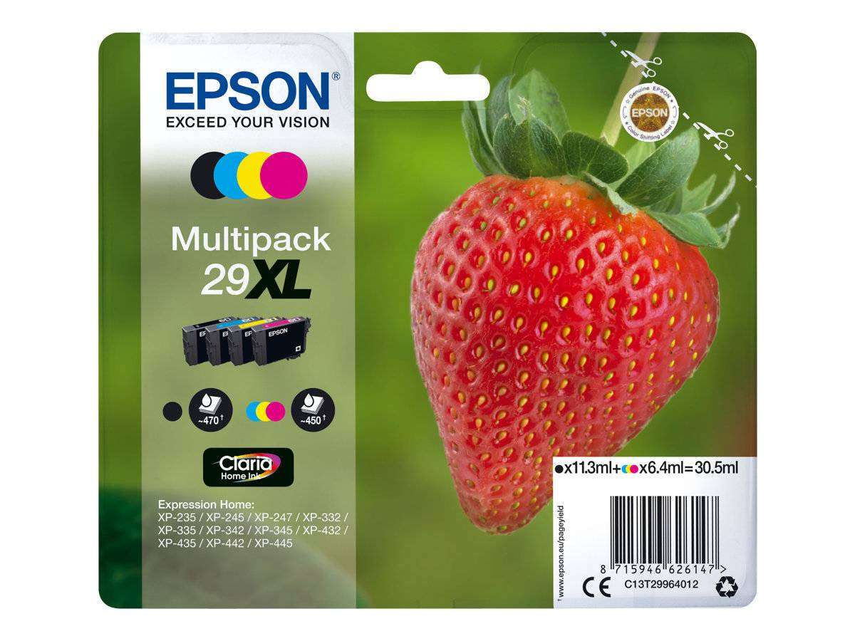Epson 29 XL (T2991/T2992/T2993/T2994) combo pack 4 stk blækpatron C/M/Y/K 30,5 ml