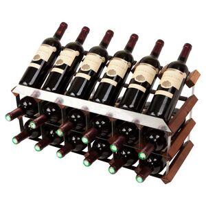 Mensolas Med Display - 18 Flasker I Mørkbejset Fyrretræ