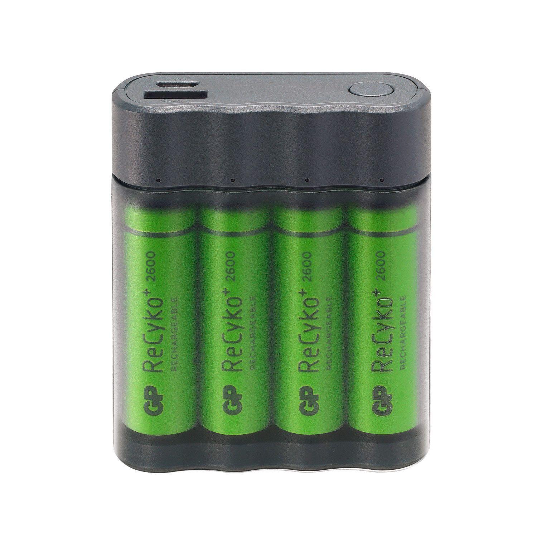 GP USB-batteriladdare för AA/AAA och powerbank med 4st AA-batterier