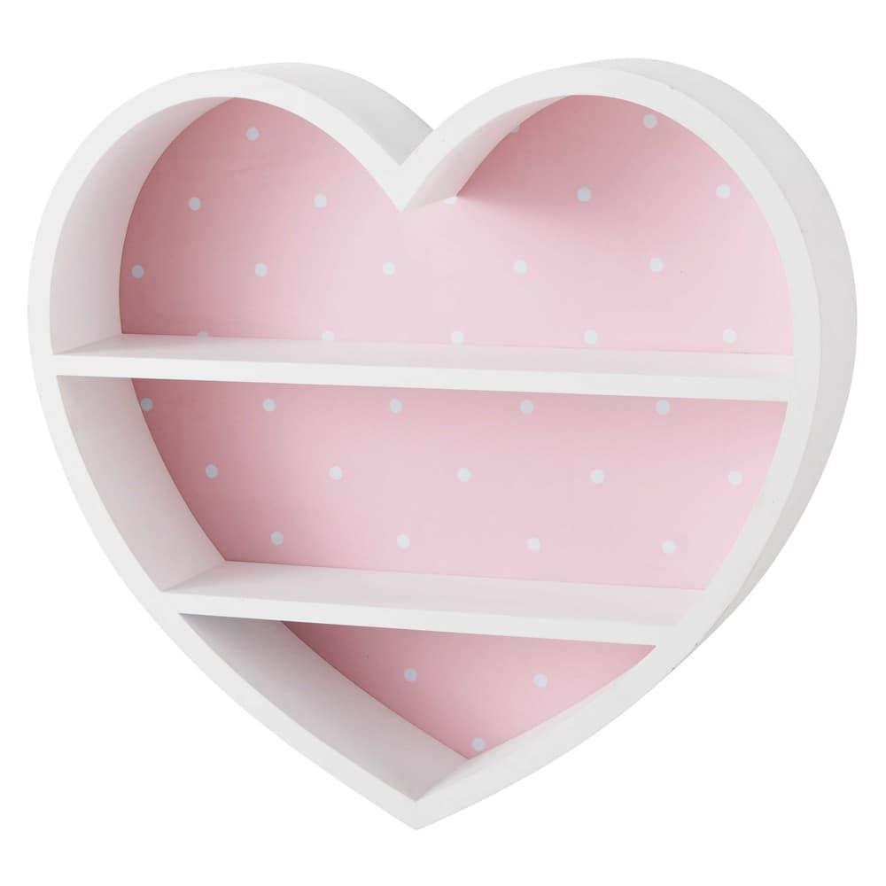 Maisons du Monde Repisa corazón blanca y rosa