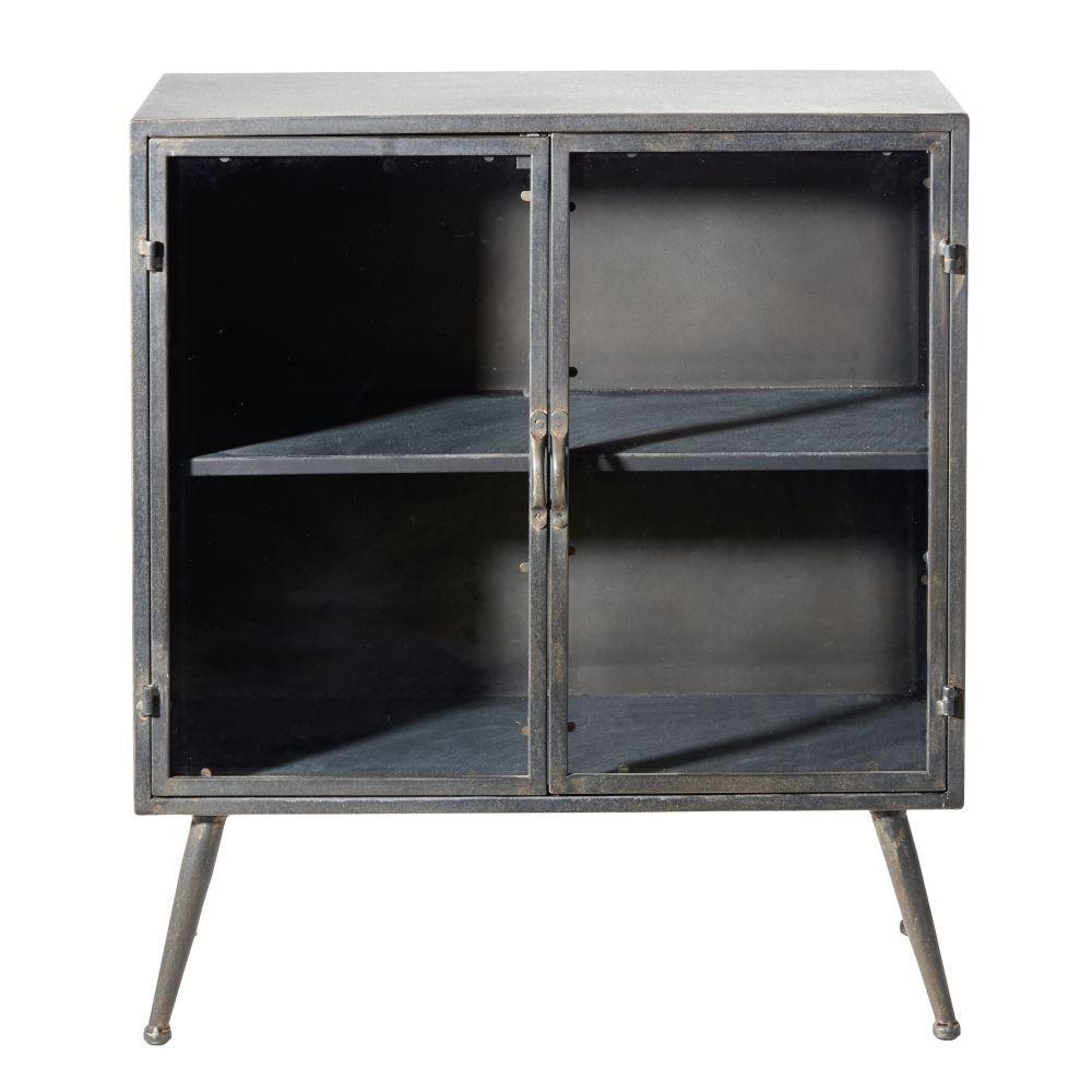 Maisons du Monde Pequeño mueble con 2 puertas de cristal y metal